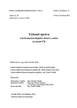 Poslední vydaná zpráva - Český hydrometeorologický ústav