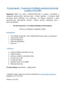 Fyzioterapeut – Nemocnice Frýdlant(s možností ubytování a mzdou