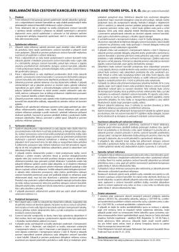 Reklamační řád CK VTT – platný od 16.3.2016