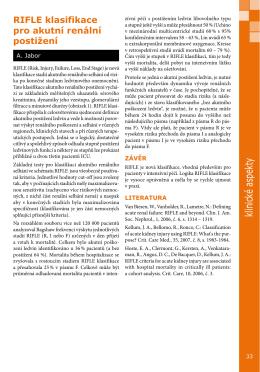 RIFLE klasifikace pro akutní renální postižení