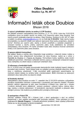 Informační leták obce Doubice
