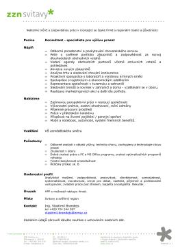 Pozice Konzultant - specialista pro výživu prasat Náplň