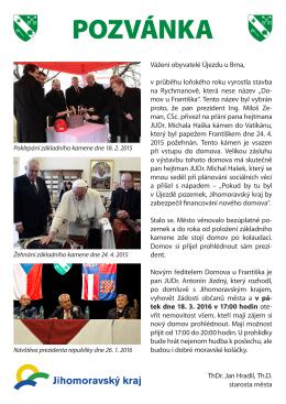 Pozvánka na otevření Domova pro seniory U Františka, ul. Rybářská