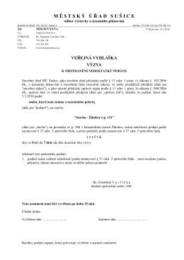 výzva k odstranění nedostatků podání - stavba Žihobce č. p