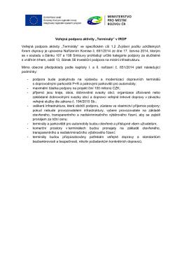 """Veřejná podpora aktivity """"Terminály"""" v IROP Veřejná podpora"""