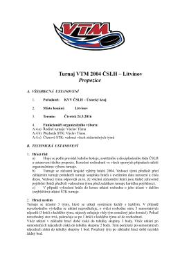 propozice turnaje vtm u12, 24. 3. 2015, litvínov