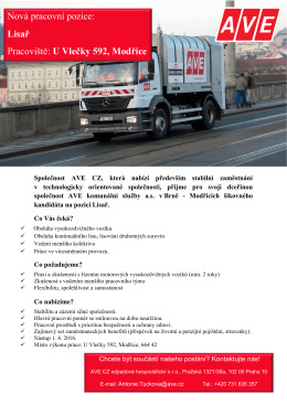 Nová pracovní pozice: Lisař Pracoviště: U Vlečky 592, Modřice