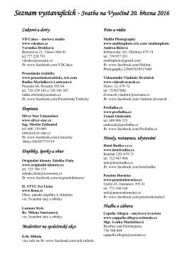 Seznam vystavujících - Květinový salón Sissi