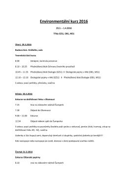 Podrobný harmonogram environmentálního kurzu – 2016