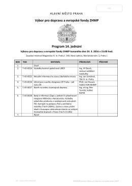 PROGRAM jednání výboru ZHMP - K