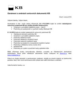 Oznámení o změnách smluvních dokumentů
