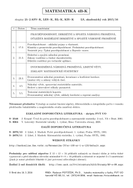 Informace o zápočtu a zkoušce, ukázkové