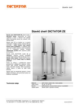 Stavěč dveří DICTATOR ZE - Technicke