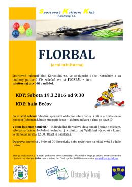 florbal - jarní turnaj dětí a mládeže