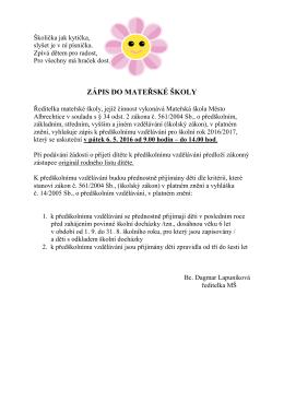 Informace o zápisu - Mateřská škola Město Albrechtice