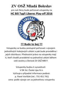 vstupenky na HC Bílí Tygři Liberec Play-off 2016