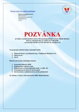 Pozvánka za řádné zasedání představenstva březen 2016