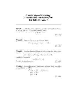 Zadání písemné zkoušky z Aplikované matematiky IV LS 2014
