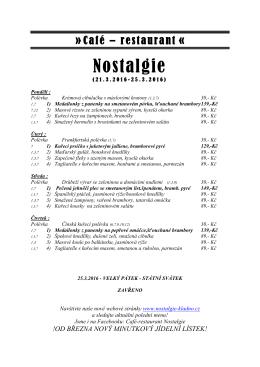Polední menu - NOSTALGIE Restaurace Kladno