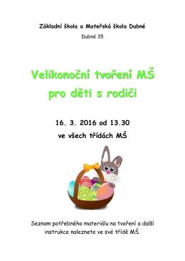 Velikonoční tvoření MŠ pro děti s rodiči