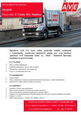 Nová pracovní pozice: Strojník Pracoviště: U Vlečky 592