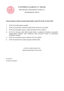 Usnesení přijatá na řádném zasedání AS KTF UK dne 16. března