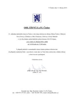 Ohlášení 21.zTL Čáslav