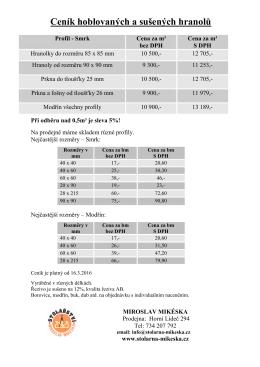 MO ceník hobl. profilů prodejna