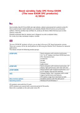 Nové výrobky řady IPC firmy EXOR (The new EXOR IPC