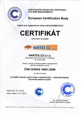 cERTlFlKAT - HARTEX CZ sro