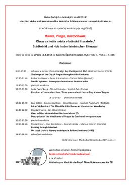 WORKSHOP Program CESKY - Ústav řeckých a latinských studií