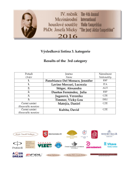 Výsledková listina 3. kategorie Results of the 3rd category