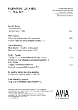 polední menu / lunch menu 14 – 18.03 2016