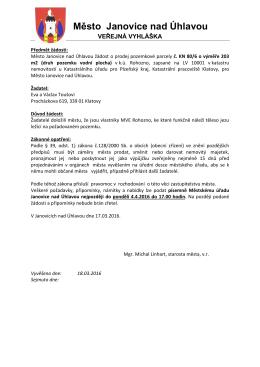 Město Janovice nad Úhlavou - Městský úřad Janovice nad Úhlavou