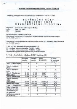 Závěrečný účet MK Ploština