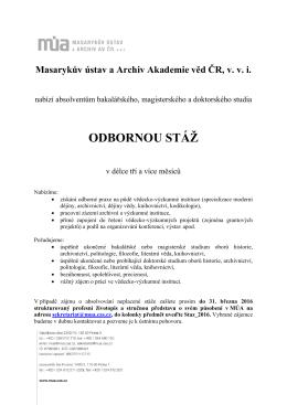 Stáže Masarykova ústavu a Archivu AV ČR 2016