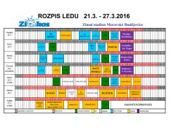 rozpis 21.3.- 27.3.2016 - Zimní stadion Moravské Budějovice