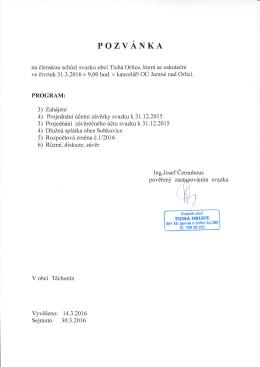 Pozvánka na členskou schůzi svazku obcí Tichá Orlice