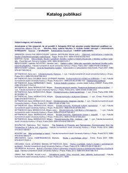 Katalog publikací - Fakulta humanitních studií UK