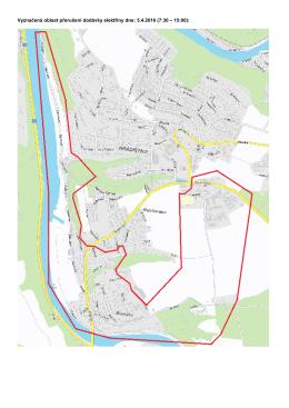 Vyznačená oblast přerušení dodávky elektřiny dne: 5.4.2016 (7:30