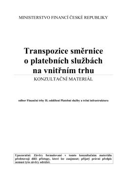 Konzultační materiál k transpozici směrnice o platebních službách