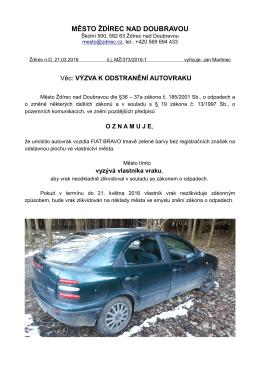 výzva k odstranění autovraku - Město Ždírec nad Doubravou