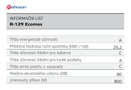 Třída energetické účinnosti Přibližná hodnota roční spotřeby (kWh