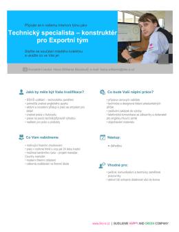 Technický specialista – konstruktér pro Exportní tým - LIKO-S