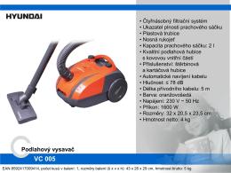 Produktový list - Hyundai VC 005 W