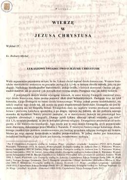 25. Bednarz M., Łukaszowe świadectwo o Jezusie Chrystusie