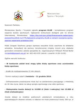 Szanowni Państwo, Ministerstwo Sportu i Turystyki