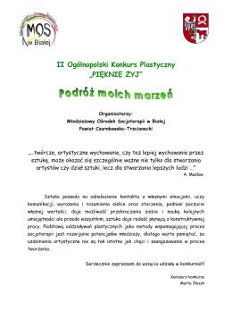 """II Ogólnopolski Konkurs Plastyczny """"PIĘKNIE ŻYJ"""""""