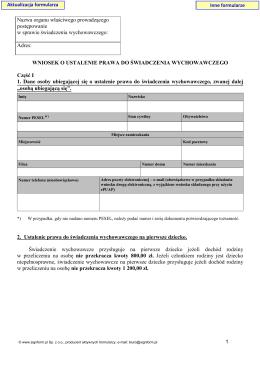 Wniosek o ustalenie prawa do świadczenia