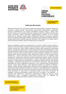 Deklaracja Warszawska - PolitykaNarkotykowa.pl